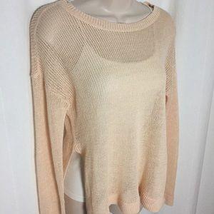 Eileen Fisher Petite Peach Sweater Organic Linen